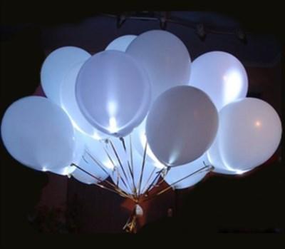 Белые светящиеся шары 30 см. с кнопкой с гелием - фото 4985