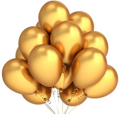 Шары золотые металлик с гелием - фото 5002