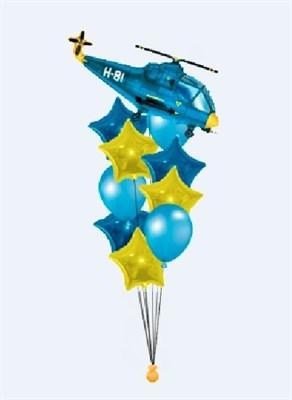 Фонтан из шаров и звезд с вертолетом - фото 5026