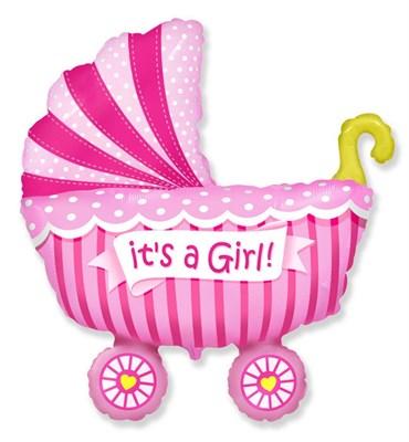 """Большой фольгированный шар """"Коляска. Это девочка"""" - фото 5161"""