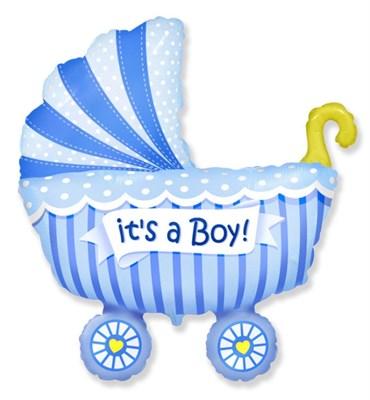 """Большой фольгированный шар """"Коляска. Это мальчик"""" - фото 5163"""