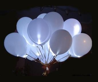 Белые светящиеся шары 30 см. для запуска с гелием - фото 5333