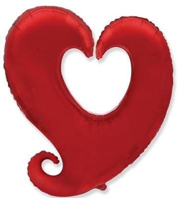 Фольг. шар Сердце витое с гелием, 80 см. - фото 5387