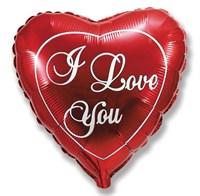 """Фольгированный шар-сердце """"I love you """" (58 см.)"""