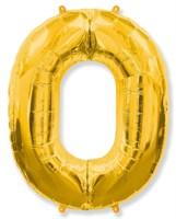"""Фольгированный шар """"большая цифра """"0"""" золотая"""