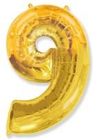 """Фольгированный шар """"большая цифра """"9"""" золотая"""