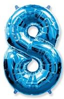 """Фольгированный шар """"большая цифра """"8"""" синяя"""