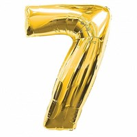 """Фольгированный шар """"большая цифра """"7"""" золотая"""