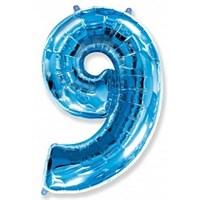 """Фольгированный шар """"большая цифра """"9"""" синяя"""