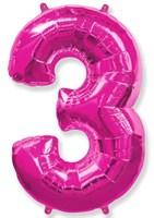 """Фольгированный шар """"большая цифра """"3"""" розовая"""