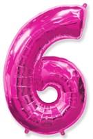"""Фольгированный шар """"большая цифра """"6"""" розовая"""
