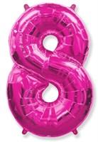 """Фольгированный шар """"большая цифра """"8"""" розовая"""