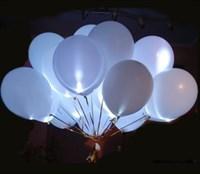 Белые светящиеся шары 30 см. с кнопкой с гелием