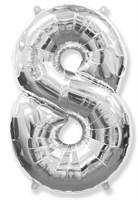 """Фольгированный шар """"большая цифра """"8"""" серебряная"""