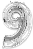 """Фольгированный шар """"большая цифра """"9"""" серебряная"""