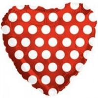 """Фольгированный шар """"Сердце с белыми кружочками"""" (45 см.) с гелием"""