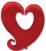 Фольг. шар Сердце витое с гелием, 80 см.