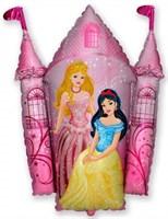 Замок с принцессами, фольгированный шар с гелием 86 см.