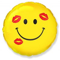 Фольгированный шар Смайлик с поцелуями с гелием 45 см.
