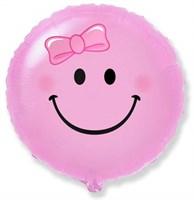 Фольгированный шар розовый Смайлик с гелием 45см.