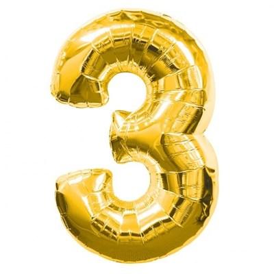 """Фольгированный шар """"большая цифра """"3"""" золотая - фото 4706"""