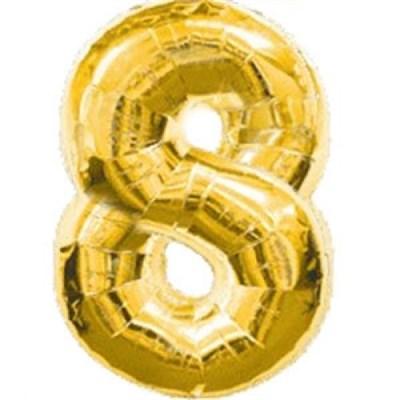 """Фольгированный шар """"большая цифра """"8"""" золотая - фото 4707"""