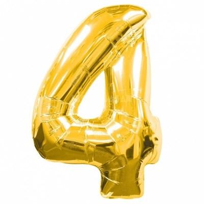 """Фольгированный шар """"большая цифра """"4"""" золотая - фото 4715"""