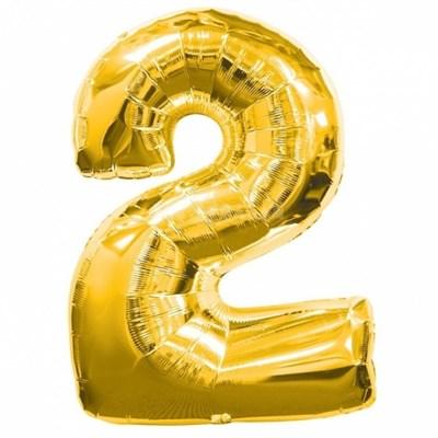 """Фольгированный шар """"большая цифра """"2"""" золотая - фото 4717"""