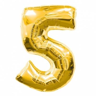"""Фольгированный шар """"большая цифра """"5"""" золотая - фото 4718"""