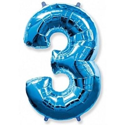 """Фольгированный шар """"большая цифра """"3"""" синяя - фото 4720"""