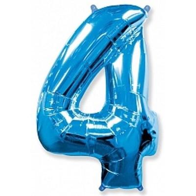 """Фольгированный шар """"большая цифра """"4"""" синяя - фото 4722"""