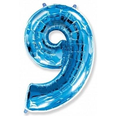 """Фольгированный шар """"большая цифра """"9"""" синяя - фото 4726"""
