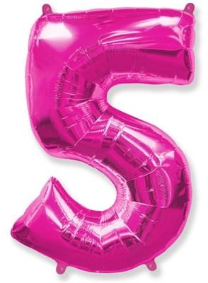"""Фольгированный шар """"большая цифра """"5"""" розовая - фото 4927"""