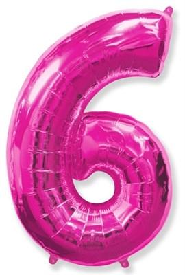 """Фольгированный шар """"большая цифра """"6"""" розовая - фото 4929"""