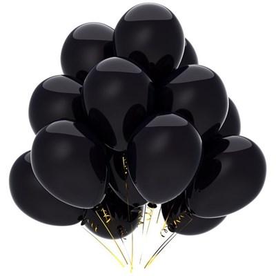 Черные шары металлик/перламутр, 30 см. с гелием - фото 4959