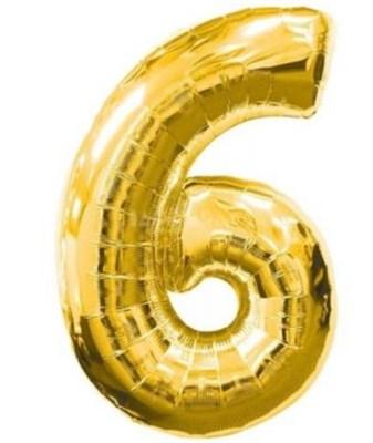 """Фольгированный шар """"большая цифра """"6"""" золотая - фото 4975"""