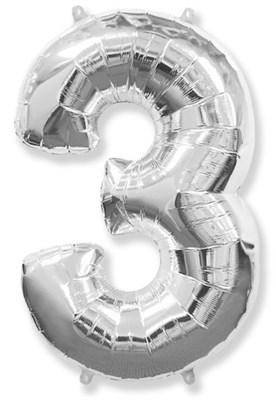 """Фольгированный шар """"большая цифра """"3"""" серебряная - фото 5040"""