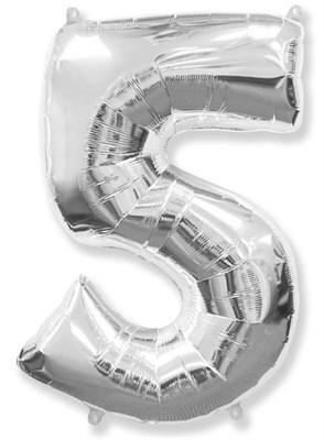 """Фольгированный шар """"большая цифра """"5"""" серебряная - фото 5044"""