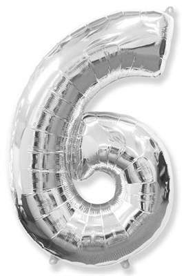 """Фольгированный шар """"большая цифра """"6"""" серебряная - фото 5046"""