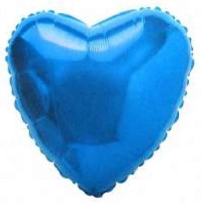 """Фольгированный синий шар """"Сердце"""" (45 см.) - фото 5101"""
