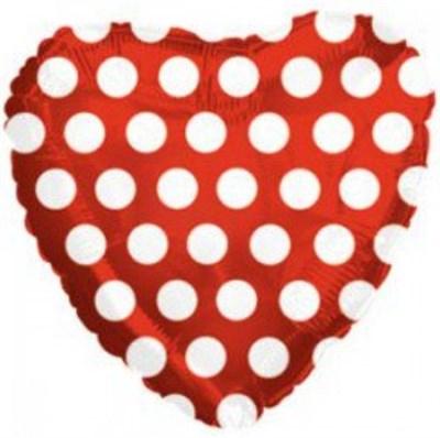 """Фольгированный шар """"Сердце с белыми кружочками"""" (45 см.) с гелием - фото 5182"""
