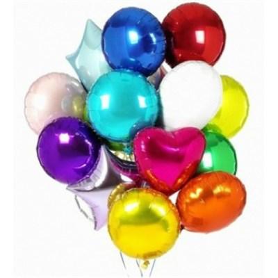 """Фольгированные шары """"Круг, Звезда, Сердце"""" (45 см.) ассорти с гелием - фото 5187"""