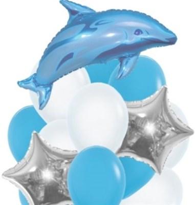 Фонтан из шаров и звезд с Дельфином - фото 5189