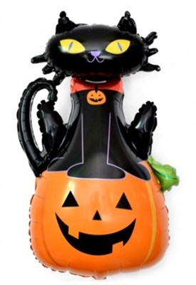 Фольгированный шар Кошка на тыкве с гелием - фото 5375