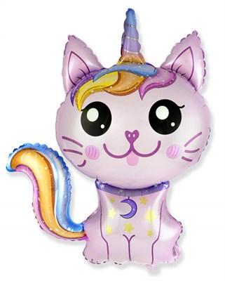 Котёнок-Единорог, фольгированный шар с гелием - фото 5396