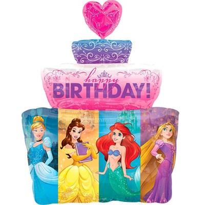 """Замок с принцессами """"С Днем Рождения"""", фольгированный шар с гелием 88 см - фото 5423"""