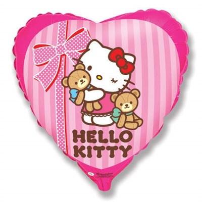 Фольгированное сердце Hallo Kitti c гелием 45 см. - фото 5436