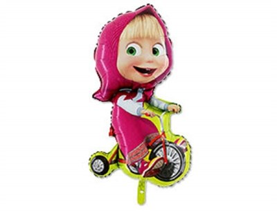 Маша на велосипеде, фольгированный шар с гелием 97 см - фото 5445