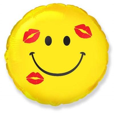 Фольгированный шар Смайлик с поцелуями с гелием 45 см. - фото 5447