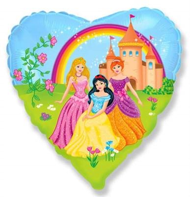 """Фольгированное сердце """"Принцессы"""" с гелием 45см.  - фото 5815"""